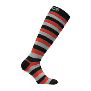 3CS Striper Snowboard Sock - Black/Red/Grey