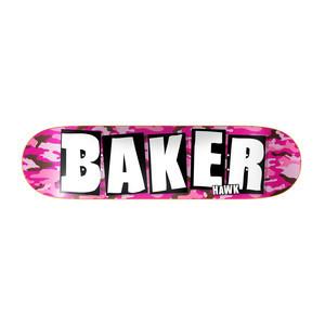 """Baker Hawk Brand Name 7.89"""" Skateboard Deck – Pink Camo"""