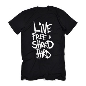 Boardworld Live Free & Shred Hard Tall Tee - Black