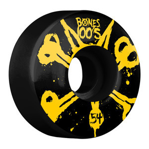 Bones 100's 54mm Skateboard Wheels - Black/Yellow