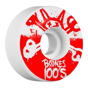 Bones 100's 51mm Skateboard Wheels - White/Red