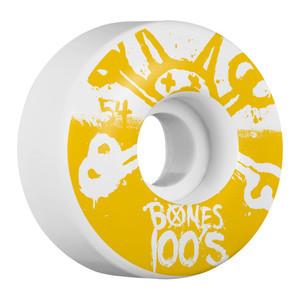 Bones 100's 54mm Skateboard Wheels - White/Yellow