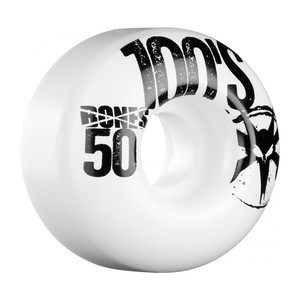 Bones 100's 50mm Skateboard Wheels - White/Black