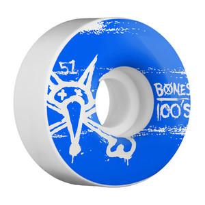 Bones 100's 51mm Skateboard Wheels - White/Blue