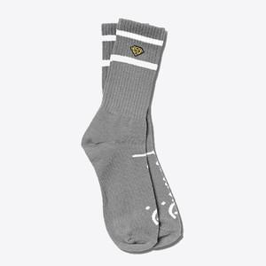 Diamond High Stripe Crew Socks - Grey