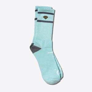 Diamond High Stripe Crew Socks - Diamond Blue