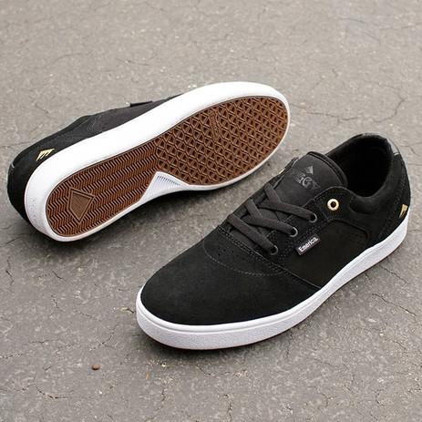 Emerica Figgy Dose Skate Shoe - Black/White/Gold