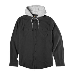 Emerica Cashus Hooded Long Sleeve Flannel - Black