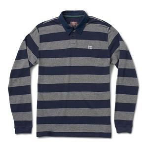 Fourstar Pirate Stripe Long Sleeve Polo Shirt - Heather Grey