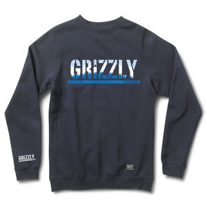 Grizzly Tie-Dye Stamp Crewneck — Navy