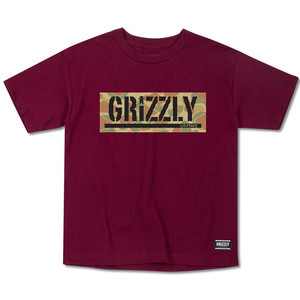 Grizzly Land & Water Youth T-Shirt - Burgundy
