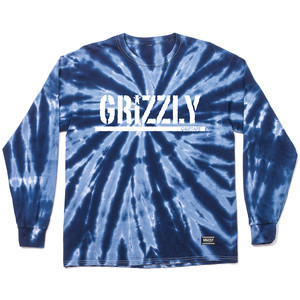 Grizzly Fireworks Tie-Dye Long Sleeve T-Shirt — Blue
