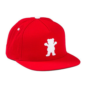 Grizzly OG Bear Chainstitch Snapback Hat — Red