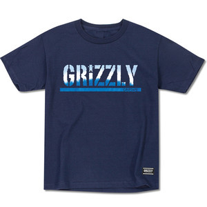 Grizzly Tie-Dye Stamp Youth T-Shirt — Navy