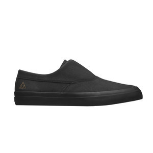 HUF Dylan Slip-On Skate Shoe - Black Leather