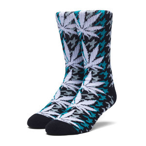 HUF Houndstooth Plantlife Crew Sock - Tropical Green