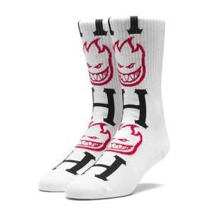 Spitfire x Huf Bighead H Crew Sock - White