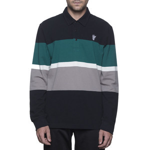 HUF Bayside Long Sleeve Polo Shirt - Black