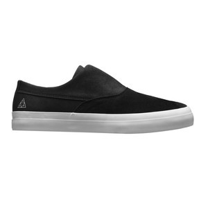HUF Dylan Slip-On Skate Shoe - Black/Black/White