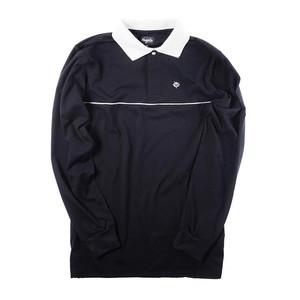 Magenta Long Sleeve Polo Shirt - All Black