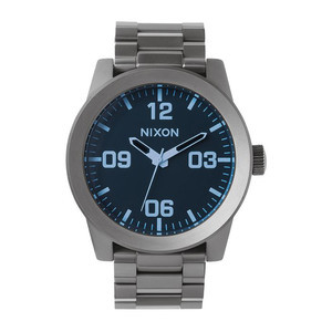 Nixon Corporal SS Watch - Gunmetal/Blue Crystal
