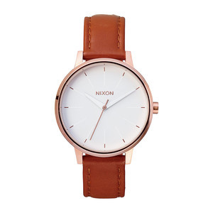 Nixon Kensington Leather Watch - Rose Gold/White