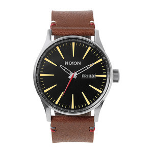 Nixon Sentry Leather Watch - Black/Brown