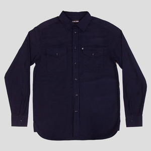 PASS~PORT Late Workers Flannelette Shirt - Navy