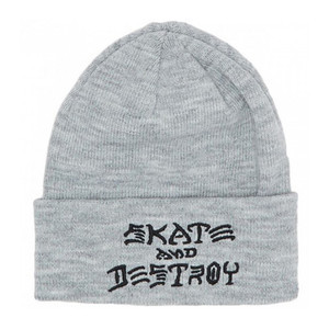 Thrasher Skate and Destroy Embroidered Beanie - Grey