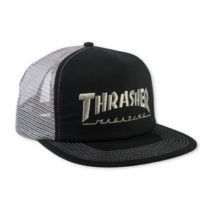 Thrasher Logo Embroidered Mesh Cap — Black/Grey