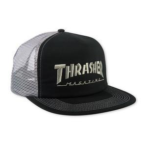 Thrasher Logo Embroidered Mesh Cap — Black/Grey