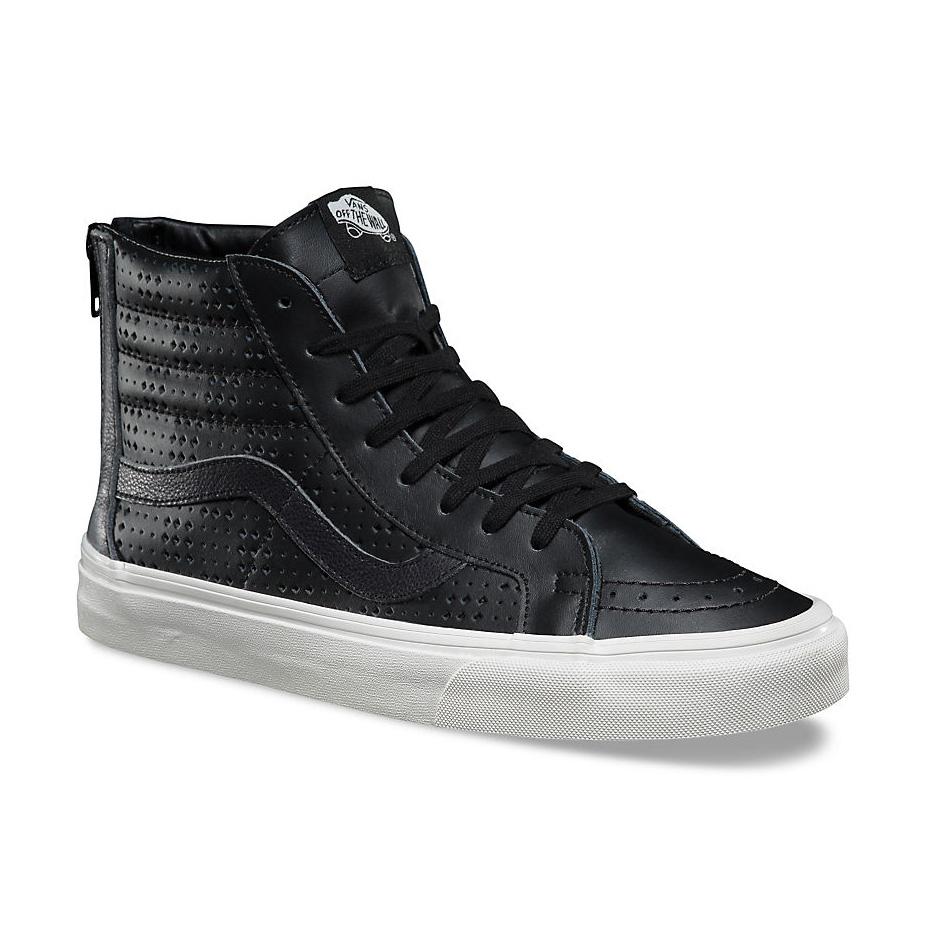d70edb6aec480b Vans Sk8 Hi Leather Perf Reissue Zip Shoe - Black White