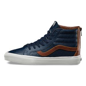 vans sk8 hi boot leather dress blue