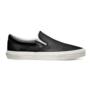 Vans Classic Slip-On Leather Perf Shoe - Black/White
