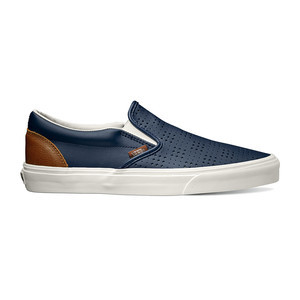 Vans Classic Slip-On Leather Perf Shoe - Dress Blue/Friar Brown