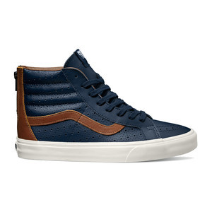 Vans Sk8 Hi Leather Perf Reissue Zip Shoe - Dress Blue/Friar Brown