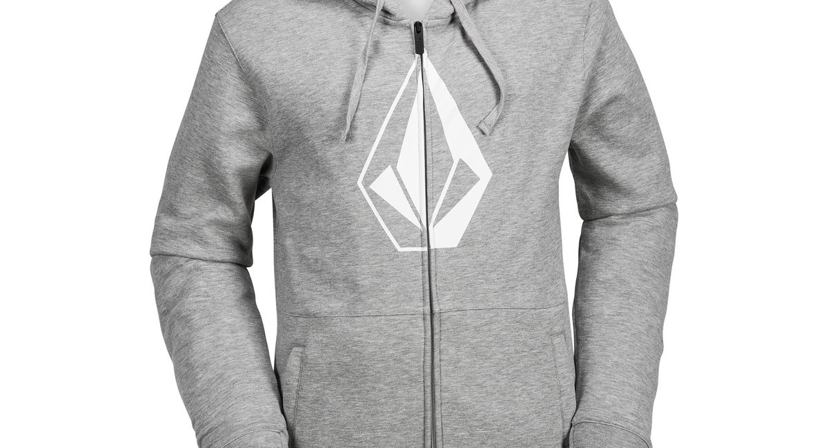 volcom jla stone zip fleece hoodie 2018 heather grey boardworld store. Black Bedroom Furniture Sets. Home Design Ideas
