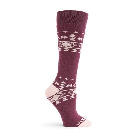 Volcom Women's Tundra Tech Snowboard Sock - Merlot