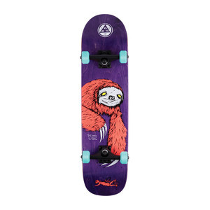 "Welcome Sloth 8.0"" Complete Skateboard - Coral / Purple"